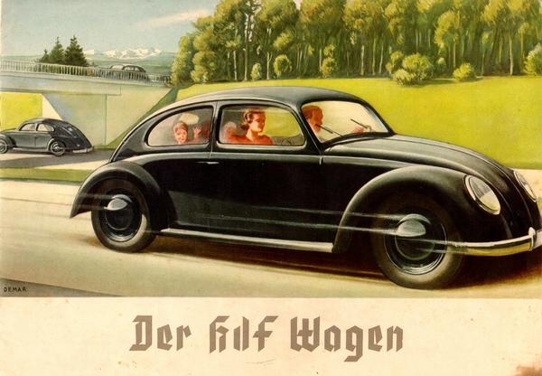 Реклама автомобиля Volkswagen 1938 года